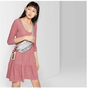 U neck brushed knit babydoll dress